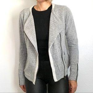 Lucky brand moto jacket sweatshirt S grey
